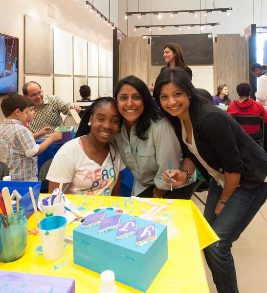 Big Brother Big Sister of Broward County's Big Sister Narinder Hannah (Middle) and Little Sister Yanique Smith with Designer Lachmee Chin, O'Donnell Dannwolf and Partners, Architects Inc., at Saturday's kids event.