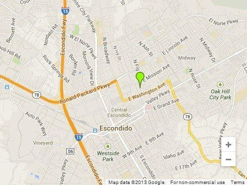 The approximate location in Escondido where a woman was found stabbed to death.
