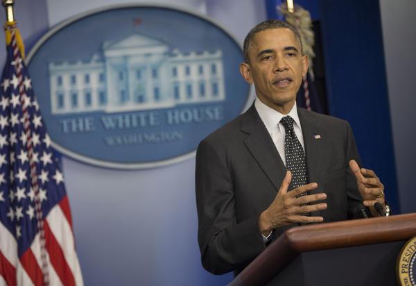 President Obama speaks in the White House in Washington.