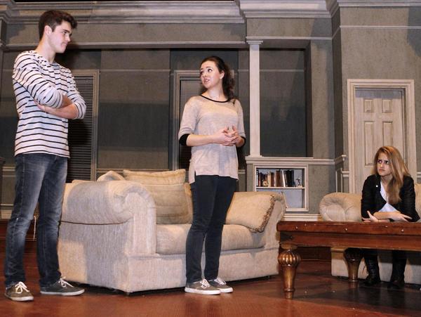 La Cañada High School students Charlie DePew , left, Anna Duncan, center, and Kylie Brakeman rehearse the play Beau Jest before a performance at the La Cañada Flintridge school on Wednesday, Nov. 19, 2013.