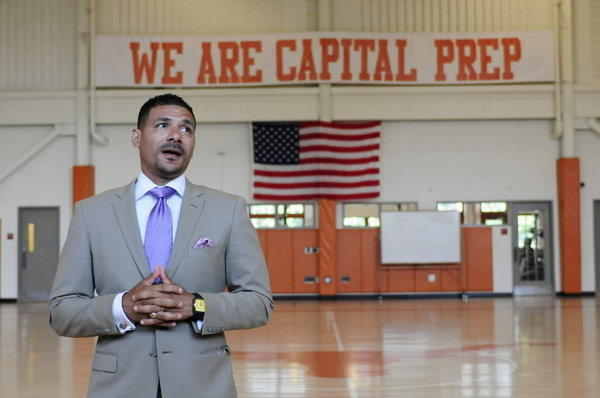 Capital Prep Magnet School Principal Steve Perry addresses his students last year.