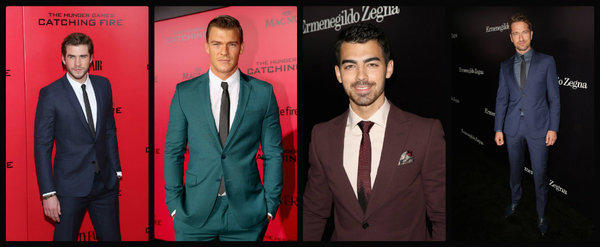On the red carpet, from left, Liam Hemsworth in Dior Homme, Alan Ritchson in Versace and Joe Jonas and Gerard Butler in Z Zegna.