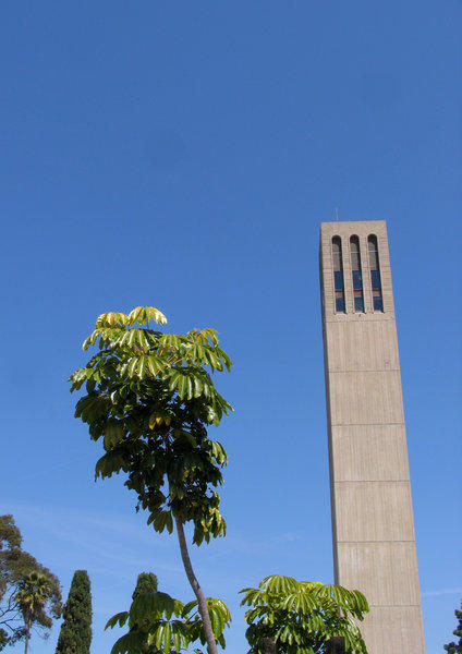 A third student at UC Santa Barbara has been diagnosed with the disease that causes meningitis. Above, Storke Tower presides over the campus.