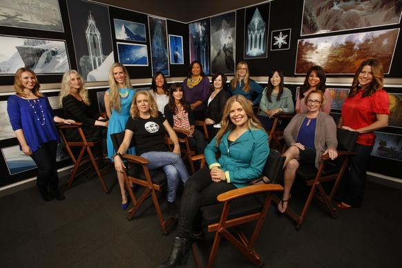 "These are the women of Disney's animation studios. Jennifer Lee, front right, one of the directors of Disney Animation's ""Frozen"" and Lauren MacMullan, front left, director of ""Get a Horse,"" a short film coming out soon, are surrounded by other women who work on animation projects at the Walt Disney Studios."