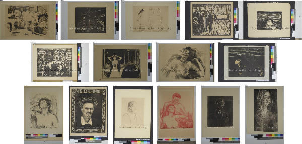 A selection of images released by German officials on Thursday show works of art believed to be by Edvard Munch that were recovered from a stash of art concealed in a Munich apartment.