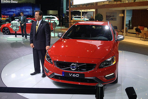 The V60 is displayed at the Volvo AG booth during the Los Angeles Auto Show.