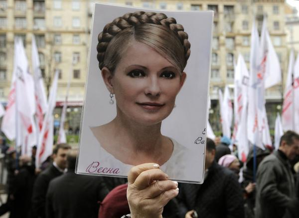 "Ukrainian opposition activists demand the release of former Prime Minister Yulia Tymoshenko, imprisoned on charges of misuse of office that European Union leaders consider politically motivated. The EU has made Ukraine's ending of ""selective justice"" a condition for joining the 28-member bloc, but the Ukrainian parliament shot down six measures Thursday that would have allowed Tymoshenko to leave for Germany for treatment of a chronic back ailment."