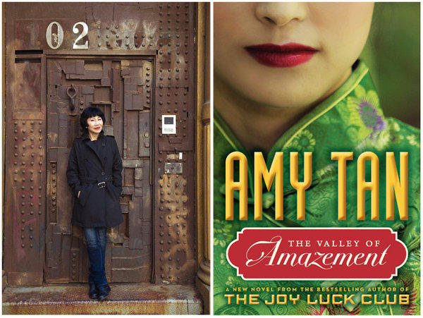 "Author Amy Tan and the cover of her novel, ""The Valley of Amazement."""