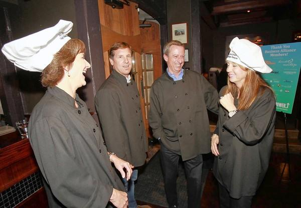 Laguna Beach Unified School District principals Joanne Culverhouse, Chris Duddy, Ron LaMotte and Jenny Salberg, left to right, are introduced as they prepare for the fifth annual SchoolPower Chef Challenge at the Lumberyard on Tuesday.