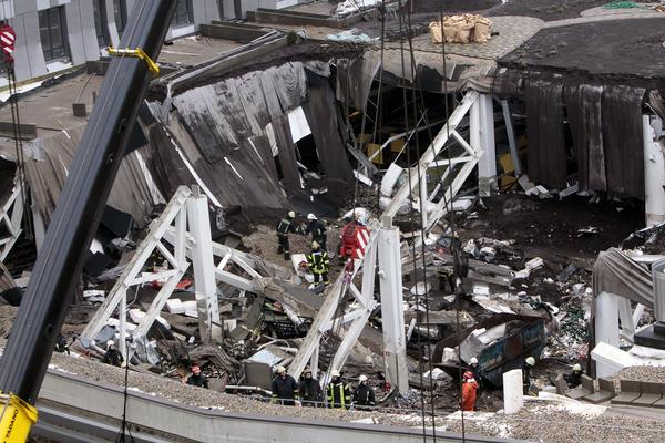 An aerial view of the collapsed Maxima XX supermarket in Riga, Latvia.