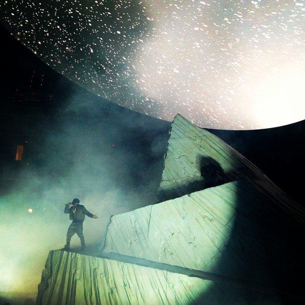 Kanye West on stage at Verizon Center on Thursday night.