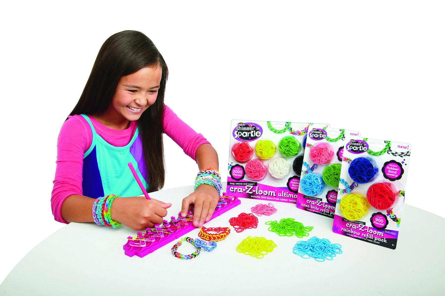 The Shimmer N Sparkle Cra Z Loom Rubber Band Bracelet Maker Turns Everyday Objects Into One Of A Kind Jewelry Statements 14 99 Toys R Us Bel Air