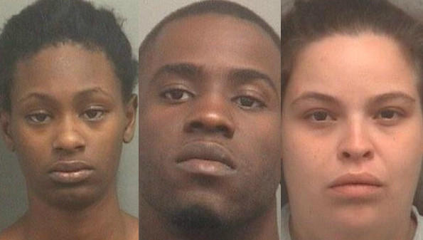 From left, Brittney Sanders, 25, Bobby Shorter, 28, and Stephanie Cortes, 24. The three were arrested by Palm Beach County Sheriff's Office deputies on Nov. 21, 2013. Each faces burglary charges.
