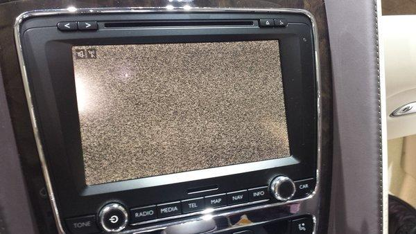 No one wants to see a snowy screen on their car entertainment system, like the one pictured from a Bentley. Car makers are improving the tech in cars, but making a few missteps along the way.