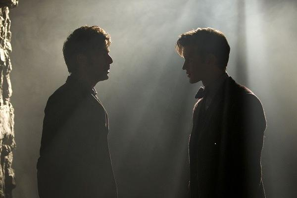 "David Tennant, right, as the Tenth Doctor and Matt Smith as the Eleventh Doctor in ""The Day of the Doctor,"" marking 50 years of ""Doctor Who."""