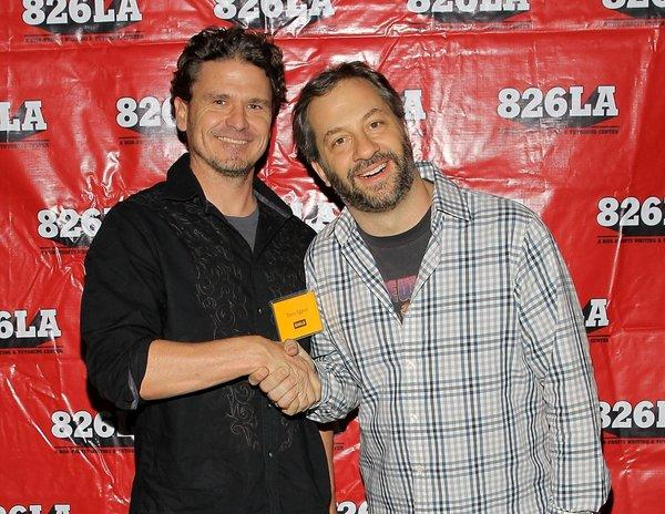 "Dave Eggers, left, and Judd Apatow attend the staged reading of the screenplay to ""Anchorman"" as a benefit to 826LA."