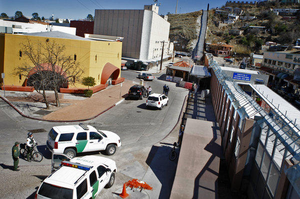 A pedestrian border crossing at Nogales, Ariz. The son of an alleged Sinaloa drug cartel kingpin was arrested at the border crossing on Wednesday.