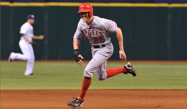 Peter Bourjos runs the bases for the Angels back in August.