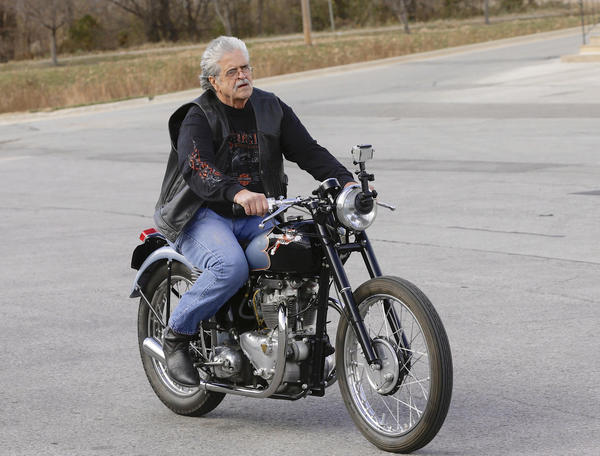 Donald DeVault, 73, rides his motorcycle -- for the the first time since it was stolen 46 years ago. California authorities had recovered his 1953 Triumph Tiger 100 at the Port of Los Angeles. The National Insurance Crime Bureau reports that the recovery rate for stolen motorcycles was only 39% in 2012.