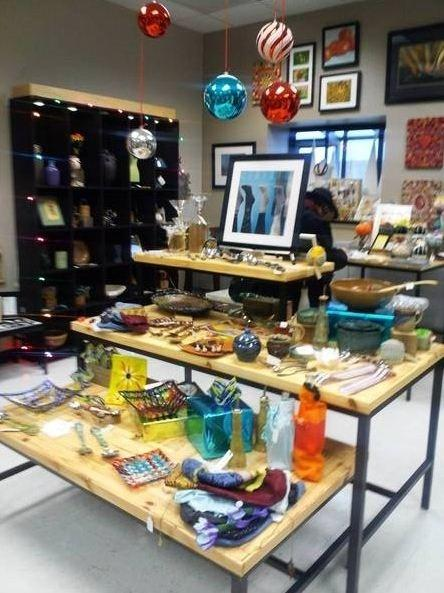 Studio V shows off and sells Harper College's student-made gifts.