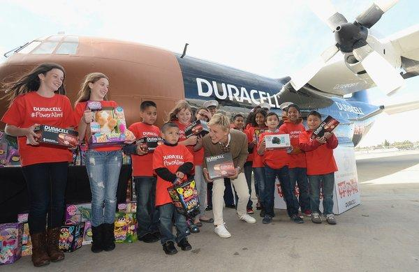 Ellen DeGeneres launches the Duracell Power a Smile Program at Van Nuys Airport on Friday.
