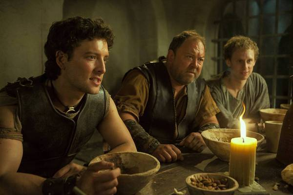 "Jack Donnelly as Jason, Mark Addy as Hercules and Robert Emms as Pythagoras in ""Atlantis."""