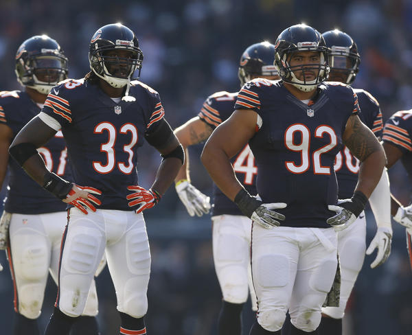 Chicago Bears' Charles Tillman (left) and Stephen Paea during 21-19 loss to Detroit Lions.