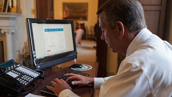 House Speaker John A. Boehner shops for health insurance on the federal website -- and succeeds!