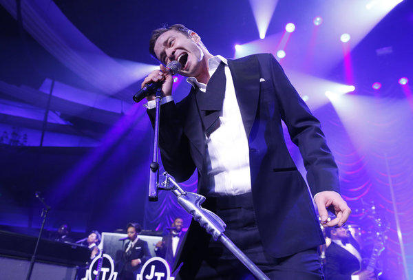 Justin Timberlake performs at the Palladium in Los Angeles.