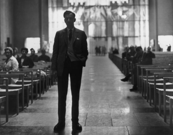 "Benjamin Britten during ""War Requiem"" rehearsals in 1962 in Coventry Cathedral. James Conlon will conduct the work Sunday and Monday to mark the composer's 100th birthday."