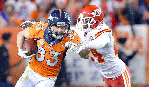 Denver wide receiver Wes Welker picks up a first down in front of Kansas City cornerback Brandon Flowers on Sunday. Welker suffered a concussion and exited the game in the fourth quarter of the Broncos' 27-17 win over the Chiefs.