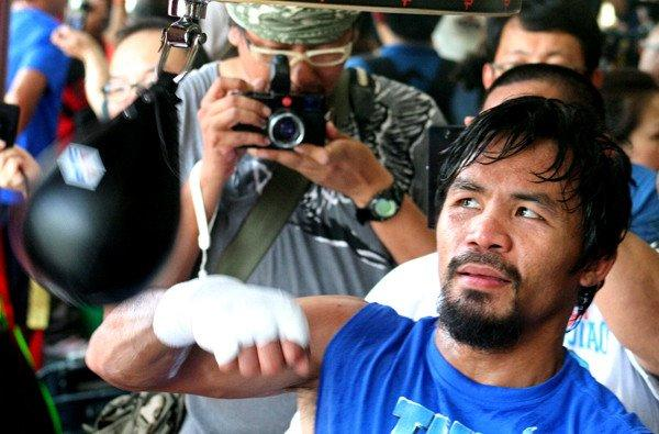 Manny Pacquiao hits the speed bag during a training session General Santos City last month.