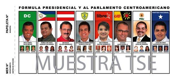 A number of political parties in Honduras are fielding candidates in Sunday's elections. Above: A sample of a Honduran voting ballot.