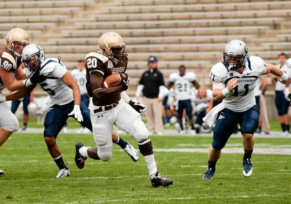 Lehigh running back Keith Sherman breaks a big run down to the 1 yard line in the first quarter of October 19's game against Georgetown at Goodman Stadium.