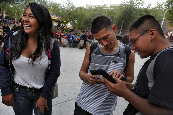 Roosevelt High students using iPads in September, shortly before the devices were put into storage for two months.
