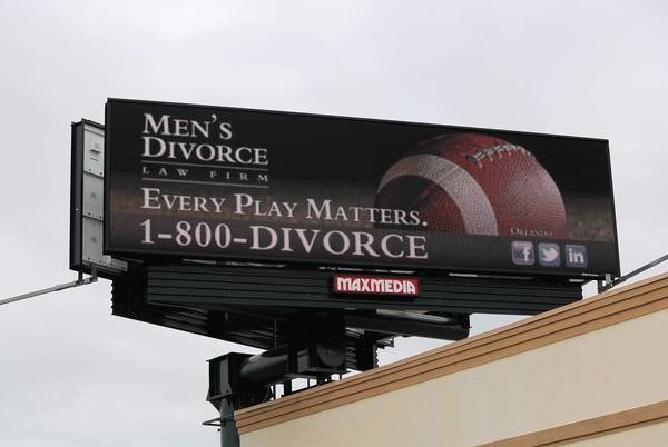 "Men's Divorce Law Firm billboard at 11621 South Orange Blossom Trail, on Friday, November 15, 2013. The name of Jeffrey Feulner's legal office says all that needs to be said: ""Men's Divorce Law Firm."" Feulner and his lawyers handle only family law and represent only men. Over divorce, custody, alimony. Its a niche that takes specialization to a new level but one its practitioners say is necessary"