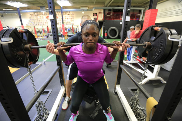 Olympic bobsled hopeful Aja Evans trains at EFT Sports Performance in Highland Park.