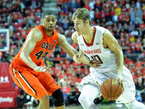 Maryland's Jake Layman looks to blow by Oregon State's Devon Collier during their Nov. 17 meeting at Comcast Center.