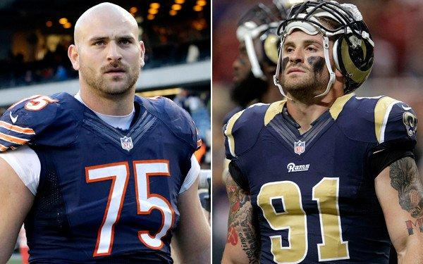 Bears offensive guard Kyle Long (75) will go head to head against his brother, Rams defensive lineman Chris Long, on Sunday.