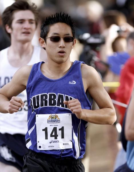 Burbank High's Elliot Choe finished 28th individually in 15:25 at the CIF Southern Section Division I Cross-Country Championships at Mount San Antonio College on Saturday. The Bulldogs finished ninth as a team and just missed qualifying to state. (Raul Roa/Staff Photographer)