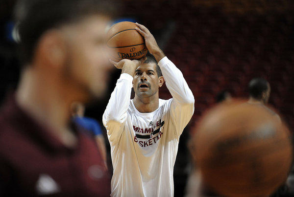 Miami Heat forward Shane Battier warms up before playing the Orlando Magic, Saturday, November 23, 2013 at AmericanAirlines Arena.