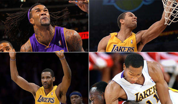 Clockwise, from top left: Lakers Jordan Hill, Xavier Henry, Wesley Johnson and Shawn Williams are all former first-round picks considered busts with their former teams.