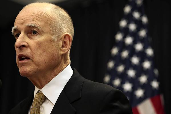 Gov. Jerry Brown at a January news conference; though he stays out of the spotlight, his aggressive fundraising indicates he'll seek reelection in 2014.