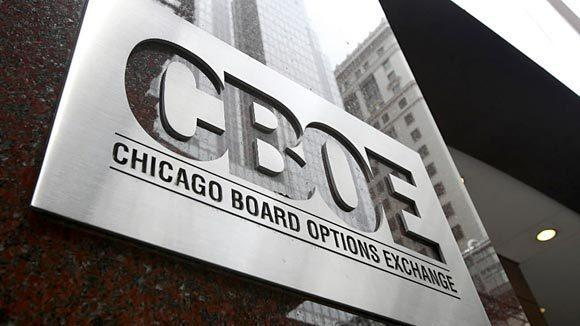 A CBOE plaque is seen near the front entrance to the Chicago Board Options Exchange in Chicago.
