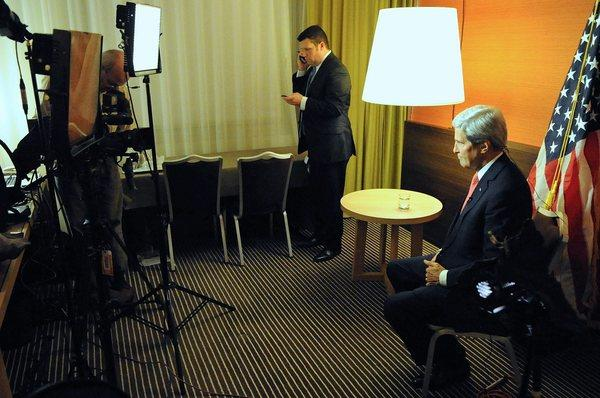 U.S. Secretary of State John F. Kerry in Geneva, Switzerland, on Sunday as he prepares for three news show appearances after the P5 1 member nations concluded negotiations with Iran about its nuclear capabilities.