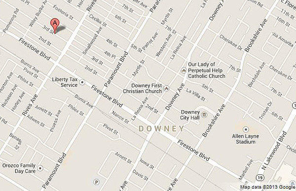 Map shows approximate location where a vacant home caught fire in Downey.