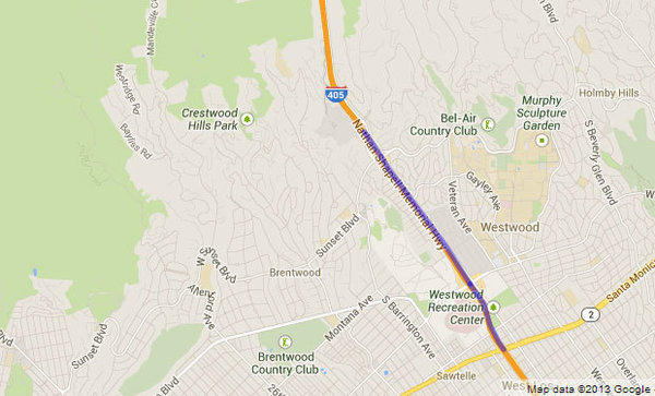 Sections of the northbound 405 Freeway will be closed Monday and Tuesday for construction work.