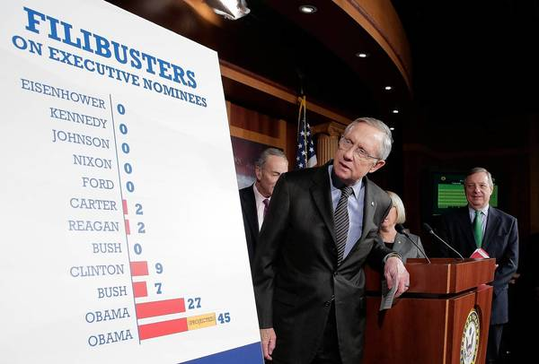 "Senate Majority Leader Harry Reid (D-Nev.) arrives for a news conference after the Senate passed the ""nuclear option"", a controversial rules change relating to filibusters."