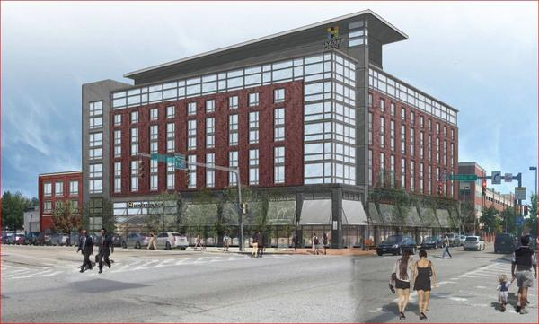 Hyatt Place, a $24.4 million construction project underway at the intersection of Fleet Street and Central Avenue in the Harbor East area
