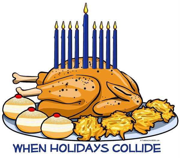 "The turkey menorah ""When Holidays Collide"" logo, created by Traditions Judaica Gifts of Pompano Beach, adorns eight new products in its Thanksgivukkah line, which rolled out four weeks ago."